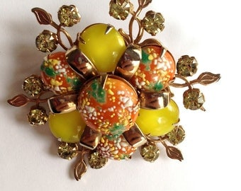 Vintage Easter Egg Bead and Rhinestone Gold-Tone Brooch