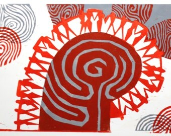 "Linocut ""Labyrinth""-"