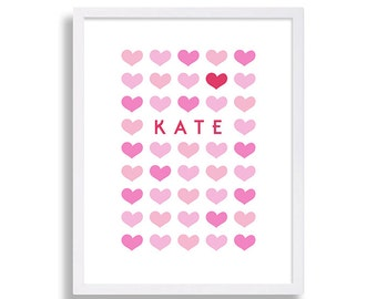 Hearts Nursery Art Pink Nursery Hearts and Love Nursery Decor Baby Name Print Baby Room Personalized Nursery Prints Nursery Decor Love