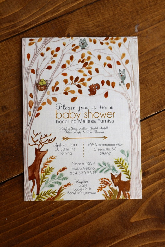 items similar to woodland forest baby shower invitation on etsy
