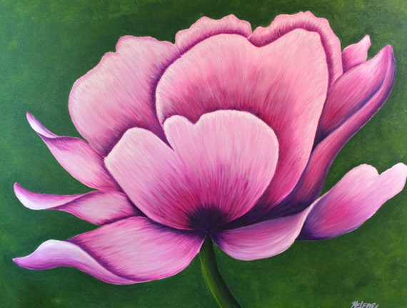 Large flower painting in pink acrylic on canvas ready to for Painting large flowers in acrylic
