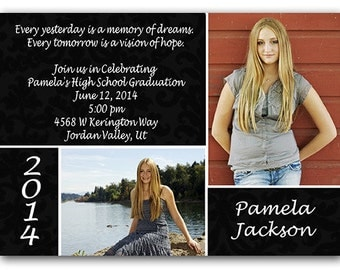 GRADUATION Commencement Two Photo Announcement Invitation Damask Printed or Digital FREE SHiPPiNG