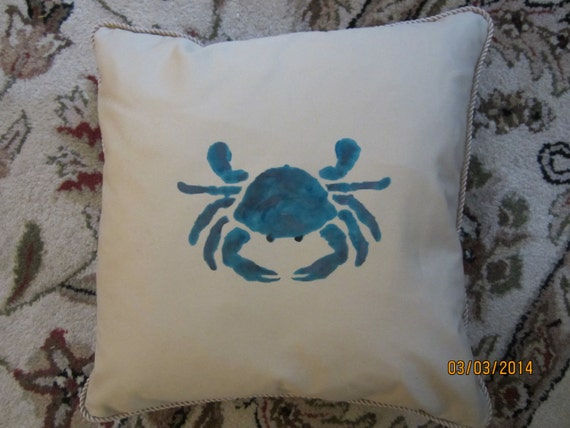 REDUCED!!  Throw pillow with crab stencil 18 inch square in cotton blend fabric with cording