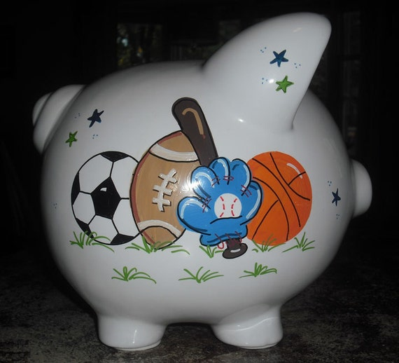 personalized boys sports piggy bank large by