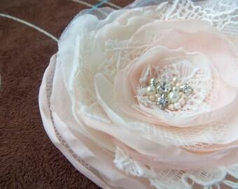 Bridal blush pink, Rose Quartz hair flower, bridal hairpiece, bridal hair clip, wedding hair flower, wedding hair accessories, READY TO SHIP