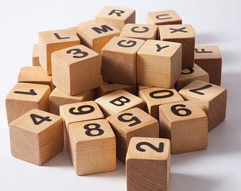Wooden blocks with letters and numbers, wooden blocks alphabet, building blocks