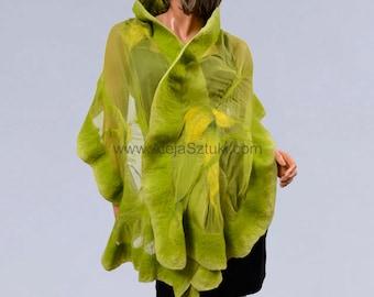 Silk shawl FREE SHIPPING, Silk scarf, silk scarves, Nuno felting, Felted shawl, felted scarves, green shawl, green scarves