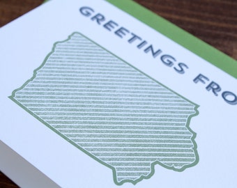 Greetings from Iowa. Letterpress Greeting Card
