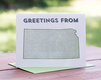 Greetings from Kansas. Letterpress Greeting Card