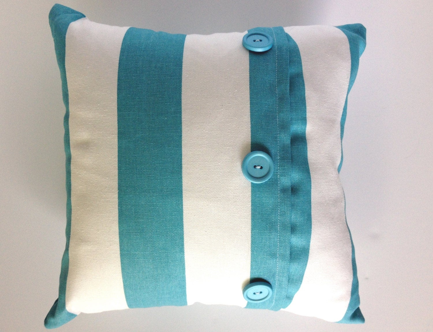 Blue and white striped throw pillow with by LittleLovelyHome