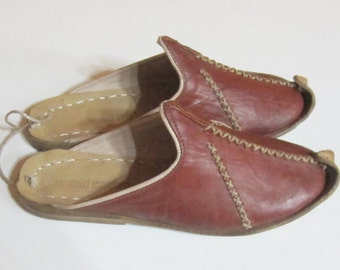 Turkish Yemeni Organic Hand Made Genuine Leather Shoes slipper brown 34 to 47
