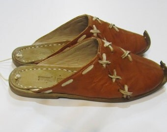 Genuine Leather  HandMade  Organic  Slippers Light Brown . All shoes numbers is available