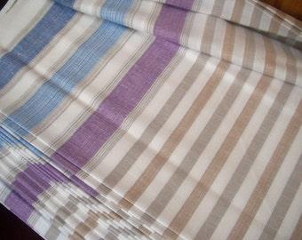 Linen Cotton blend Fabric Cloth striped - Width 59 inch - Light Weight Eco-friendly - Custom Yardage