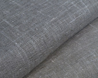 Gauze pure Linen Flax fabric Transparent Sheer Natural light Gray ECO-friendly - sold by the Yard