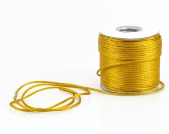 2mm GOLD SATIN STRING - Antique Gold Cord (2mm diameter) sold by 5m length