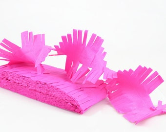 PINK PAPER GARLAND - Pink Crepe Paper Garland/Streamer with Fringed Edges (6 metres / Approx 20 Feet)