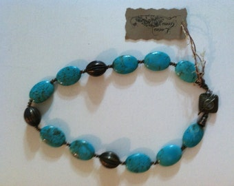 Brass and large magnesite necklace