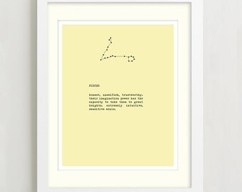 Pisces Constellation Typography Print, Zodiac Sign Art, Wall Decor, Birthday Gift, Pisces horoscope art