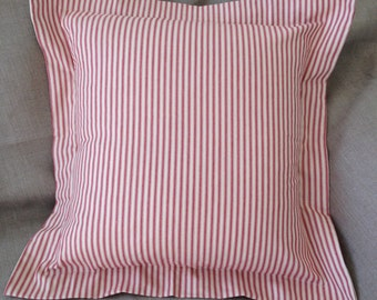 "20""x20"" Red Ticking Pillow Sham with 2"" flap"