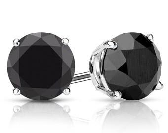 14k Gold 4-Prong Basket Round Black Diamond Stud Earrings 4.00 ct. tw.