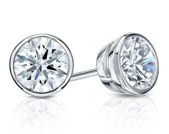 14k Gold Bezel Hearts & Arrows Diamond Stud Earrings 1.00 ct. tw. (F-G, SI1)