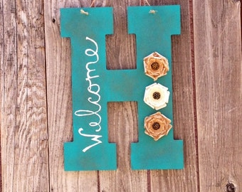 Distressed monogram welcome sign- front door hanging- welcome sign