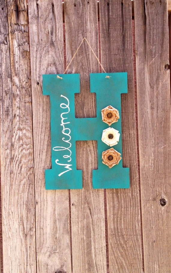 Distressed monogram welcome sign front door hanging welcome What to hang on front door for decor