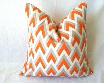 Orange Chevron Pillow Covers - 20 x 20, One, Fall Pillow, Orange Grey Pillows, Cushion Covers, Fall Decor, Thanksgiving Decor