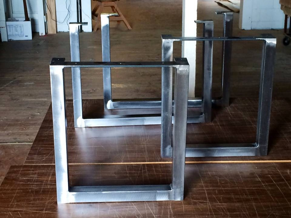 Brushed square metal legs table legs steel by for Square iron table legs