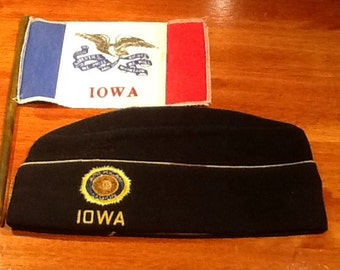 Vintage collectible Iowa American Legion 146 Garrison Cap with Iowa Flag.  By S. Abrahams & Co. in Philadelphia, PA. Emblem Division for Na