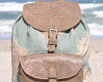 Genuine Leather and World Map Atlas Print Backpack - Limited Edition