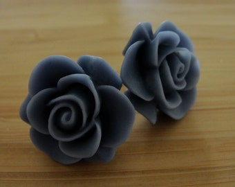 Large Slate Blue Flower Earrings