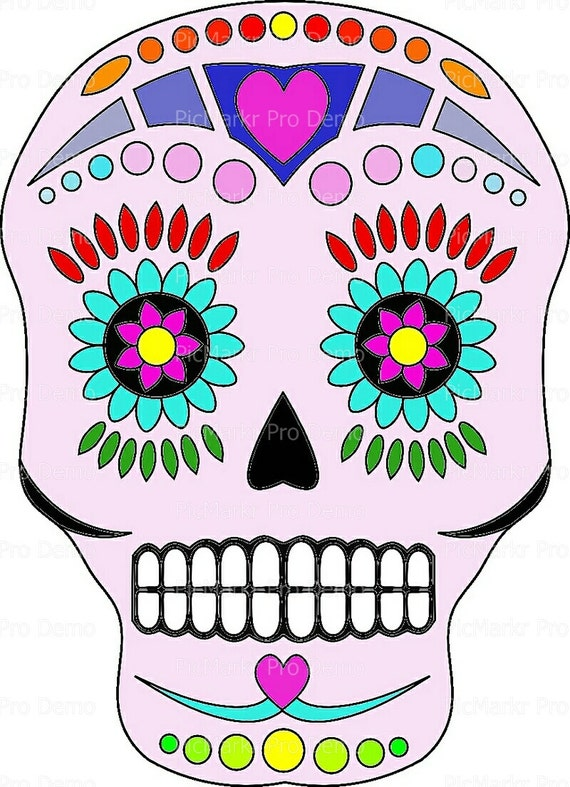 Sugar Skull Halloween - Edible Cake and Cupcake Topper For Birthday's and Parties! - D5829