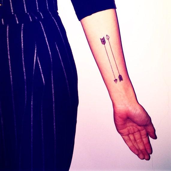 3pcs tatouage flèches - InknArt temporaire Tattoo Set - pack tatouage citation poignet cheville corps ancre faux tatouage autocollant