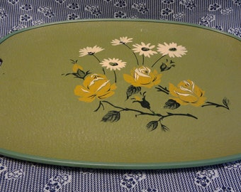 Nifty 1950's Hand Stencilled Serving Tray