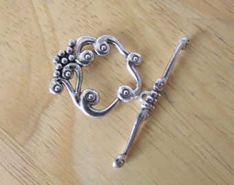 3 Set of HUGE Flower Silver Toggle Smooth Clasp