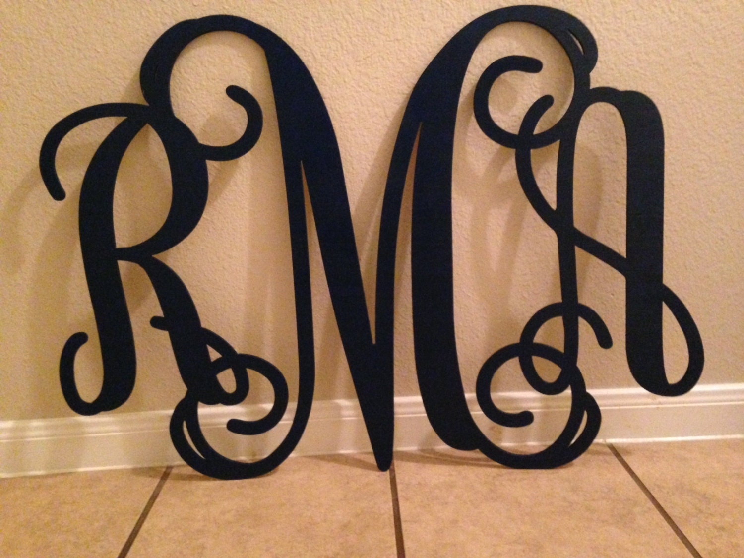 Wooden monogram home decor wall art initial by for Initial decorations for home