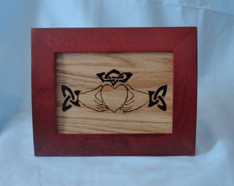 Irish Claddagh symbol burned into oak and mounted in a beautiful frame