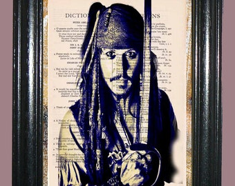 Captain Sparrow Art - Vintage Dictionary Page Book Art Print Upcycled Page Art Deco Print