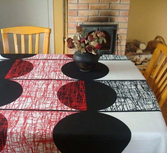 53 rond coton nappe noir blanc et rouge nappe motif. Black Bedroom Furniture Sets. Home Design Ideas