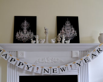 Happy New Year 2017 Banner New Year Garland New Years Eve Party Decorations, New Year Banner, Holiday Photo Prop, New Year Garland
