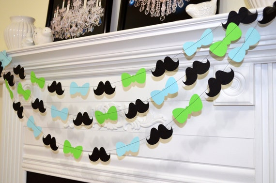 mustache and bow tie baby shower decorations