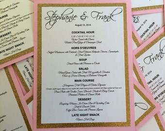 Sparkle Menu Cards for Weddings and Events