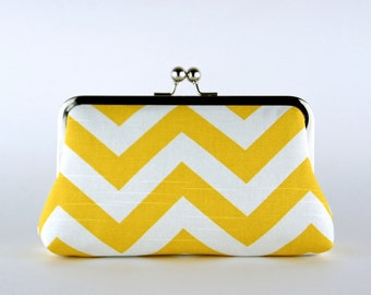 Bridesmaid Clutch, Chevron in Yellow Clutch, Silk Lining, Bridesmaid Gift, Wedding clutch, Grey and Yellow collection
