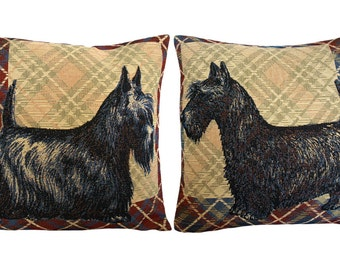 Scottish Terriers Tapestry Cushion Cover. Tapestry Pillow Cover. Set of 2.