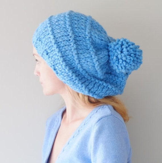 Knit Pom Pom Hat Pattern : PATTERN For Knit Chunky Pom Pom Beanie Hat / Pattern PDF