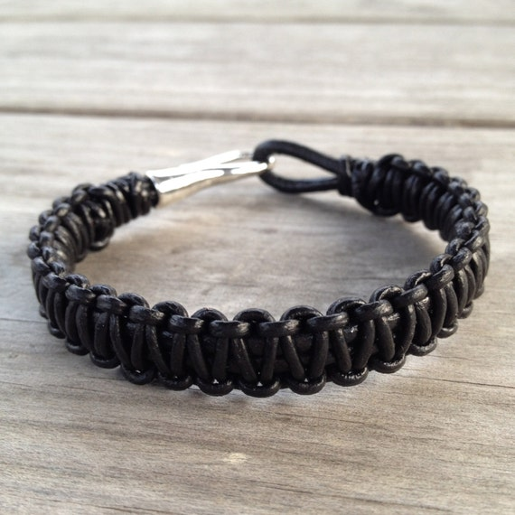 mens macrame bracelet s black macrame leather wrap bracelet 1646