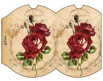 VINTAGE  ROSE - Printable Pillow Box - Digital Image Sheet Download Box - Print and Cut