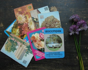 Soviet pocket calendars Set of 7 cards with Soviet Vintage ephemera USSR era 70s