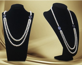 Elegant Sweater Chain Pearl Necklace With 18K White Gold Plated